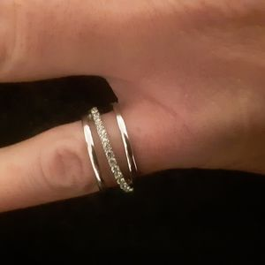 Silver and cz costume ring